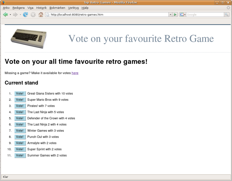 Retro Games front page